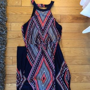Navy and pink tribal-patterned maxi dress!